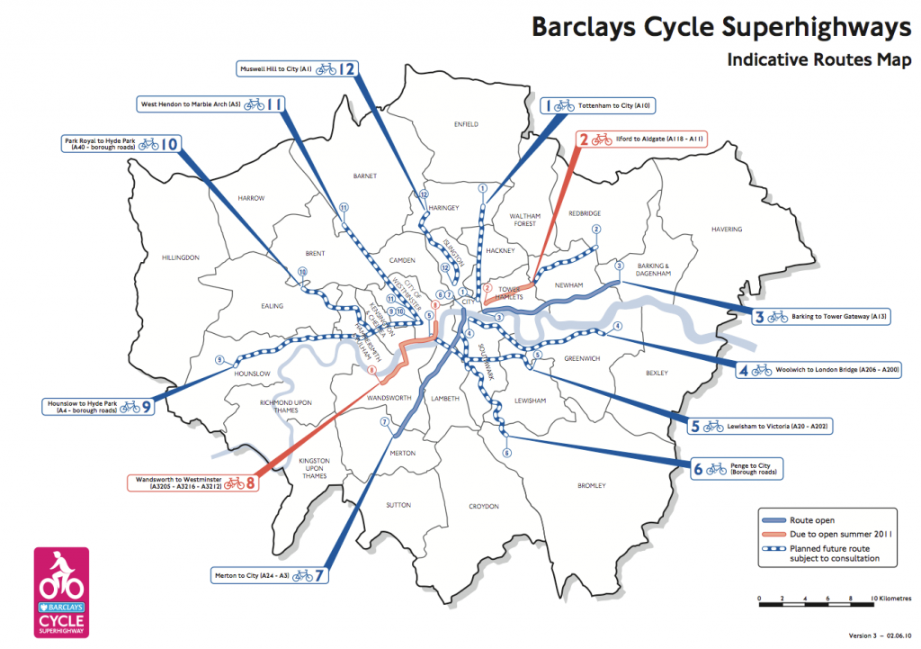 London Cycle Superhighway map Version 3 - 02.06.10