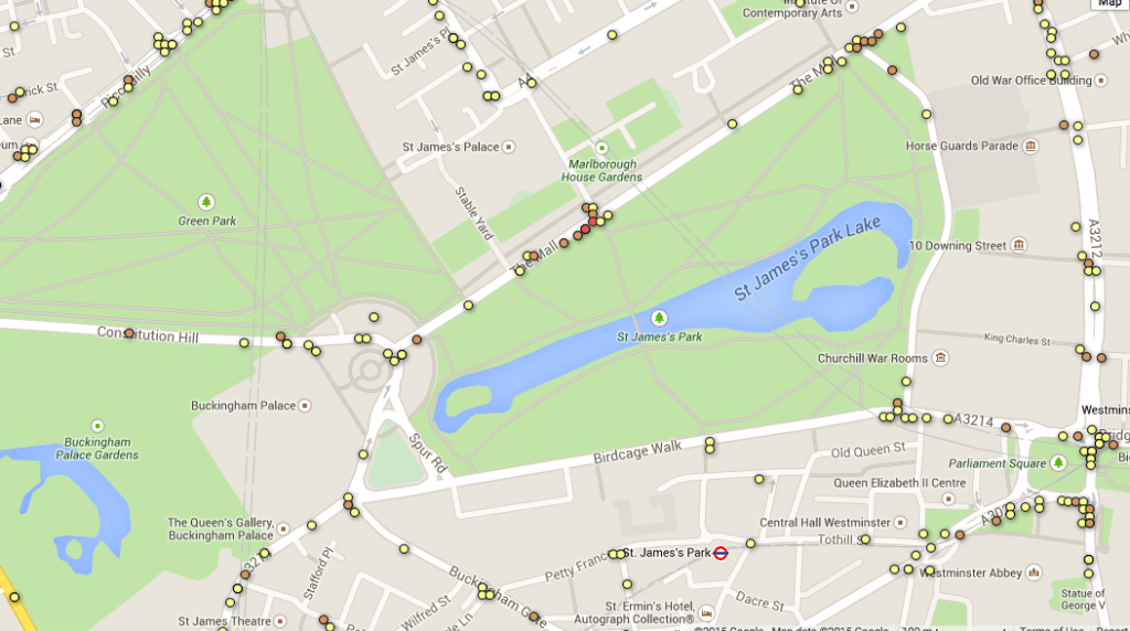 All collisions involving people on foot or bike near Green Park and St James's Park
