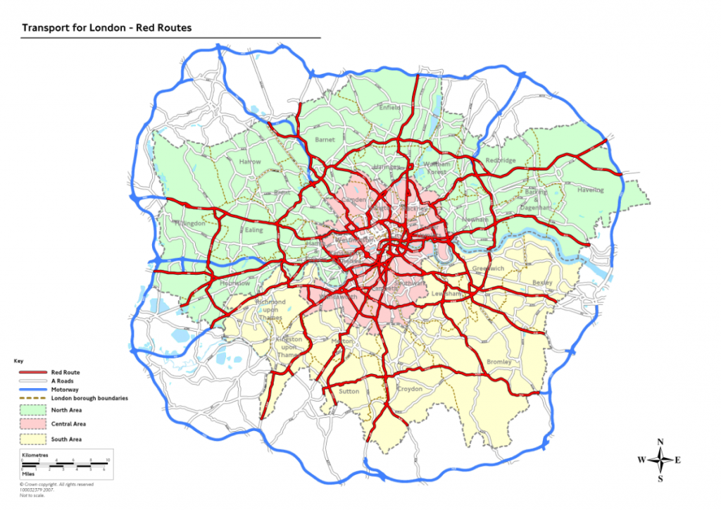 The current map of London's Red Routes