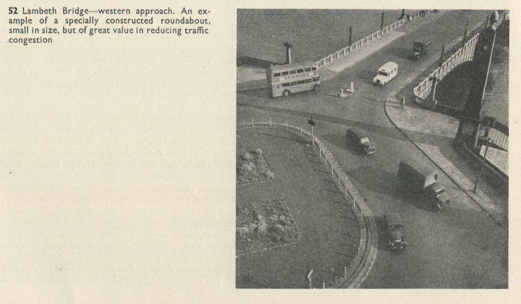 Lambeth Bridge Northern Roundabout in 1951 Plan with crossing