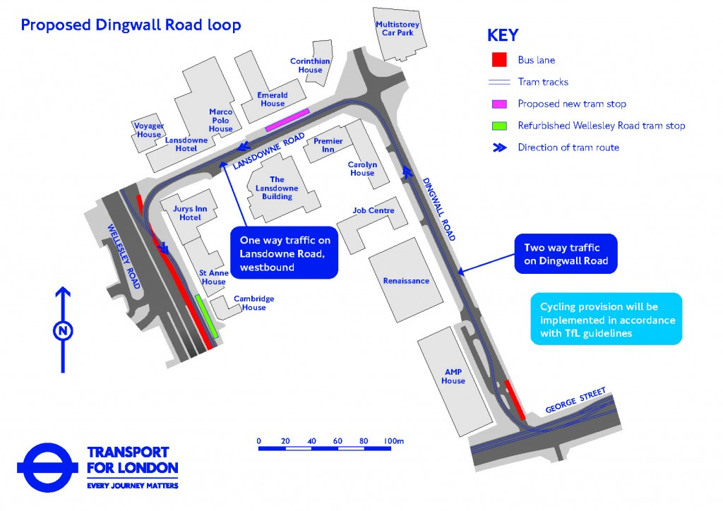 Dingwall Road tram loop map