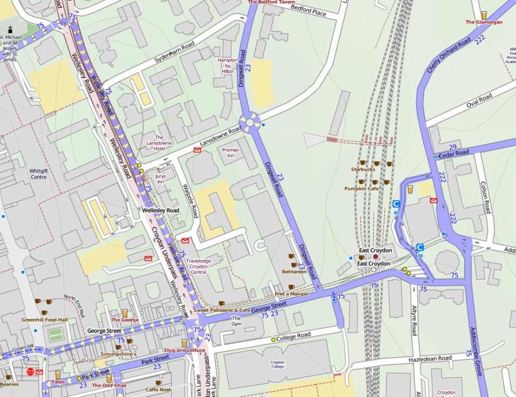 cycle routes in Croydon town centre