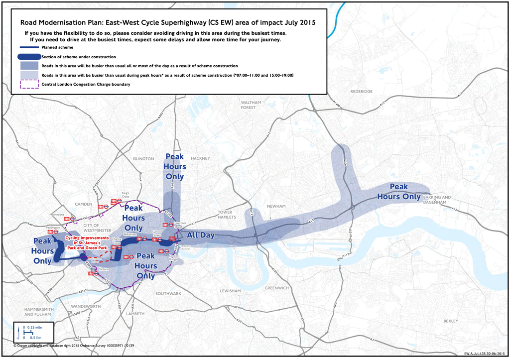 TfL's July map of impact on the roads from work to deliver new cycle superhighways.