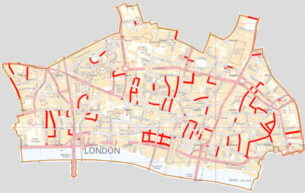 Contraflow cycle routes in the City
