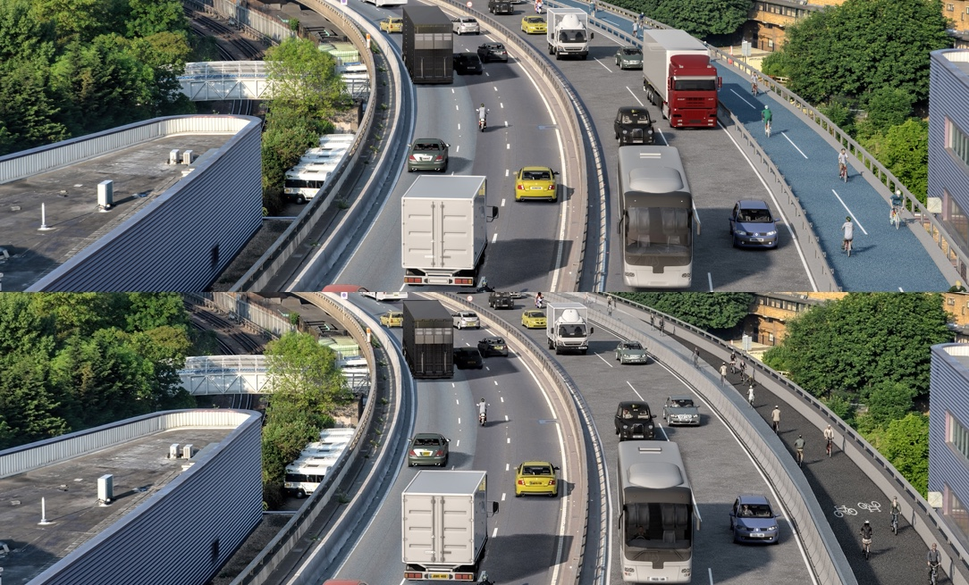 Combination of the earlier and current consultations on the Westway showing the added shielding.