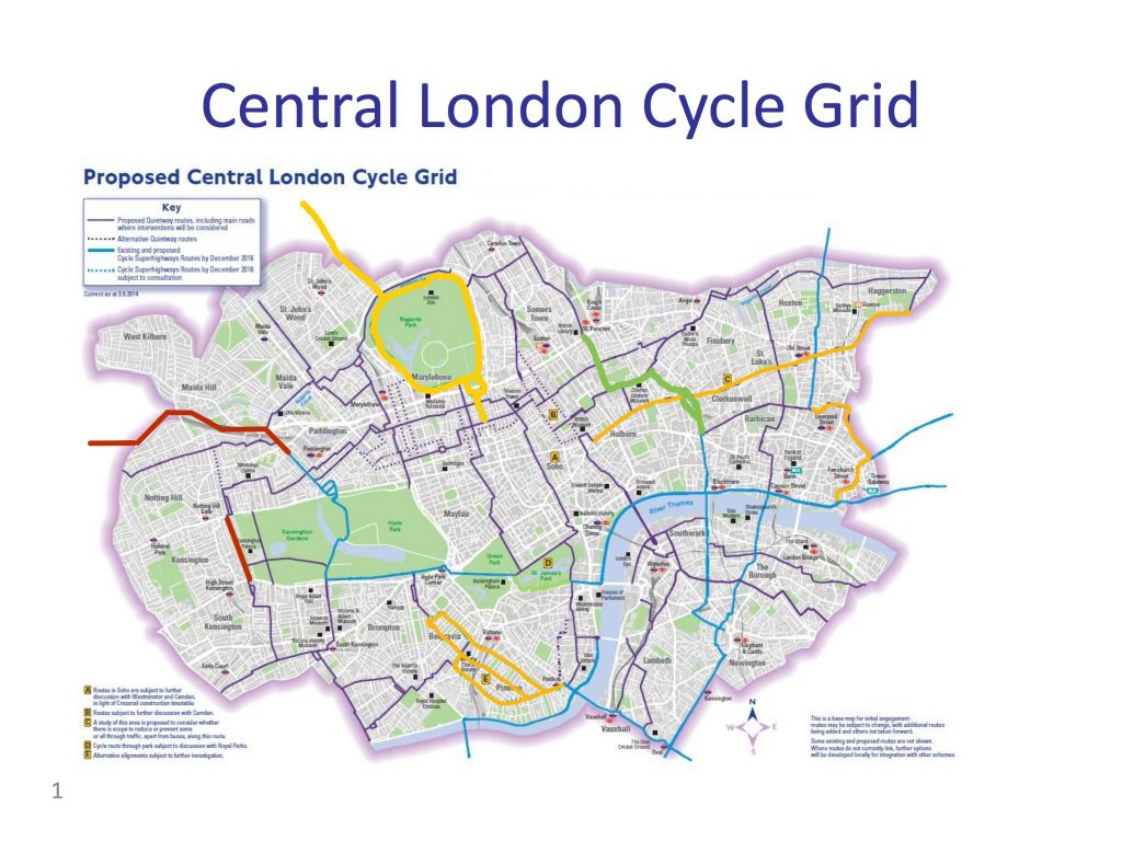 Central London Cycle Grid 2016 vs Delivery