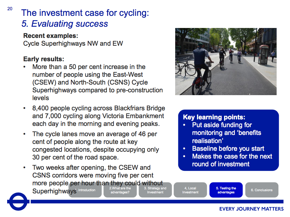 TfL evaluation of the N-S and E-W superhighways
